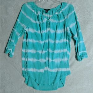 Chaps. Green & white stripped loose blouse